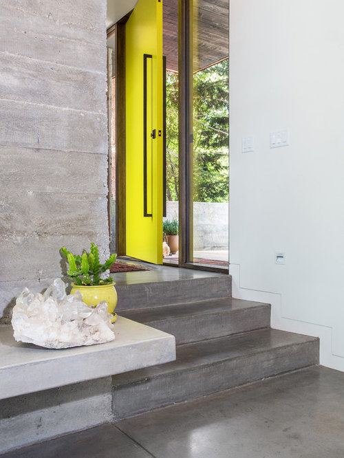 example of an urban concrete floor and gray floor entryway design in salt lake city with - Entryway Design Ideas