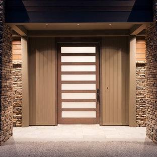 Modelo de puerta principal moderna, grande, con paredes blancas, puerta pivotante y puerta de madera oscura