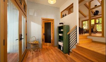 The Entry: corrugated metal, transom windows, a chalkboard door.