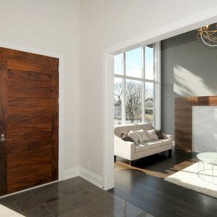 Diseño de puerta principal minimalista, grande, con puerta simple, puerta de madera en tonos medios, paredes grises y suelo de piedra caliza