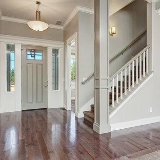 ボイシの中サイズの片開きドアトランジショナルスタイルのおしゃれな玄関ロビー (グレーの壁、クッションフロア、グレーのドア) の写真
