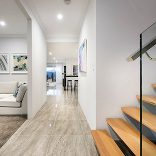 Design Ideas For A Mid Sized Modern Entry Hall In Perth With White Walls,