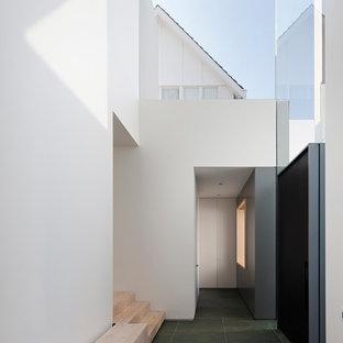 Idéer för att renovera en funkis hall, med vita väggar, skiffergolv, en pivotdörr, en svart dörr och grönt golv