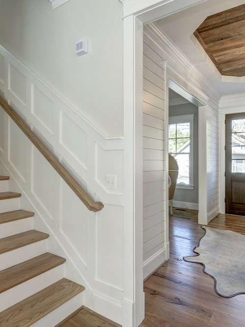 Inspiration For A Large Modern Light Wood Floor Entryway Remodel In DC  Metro With Gray Walls