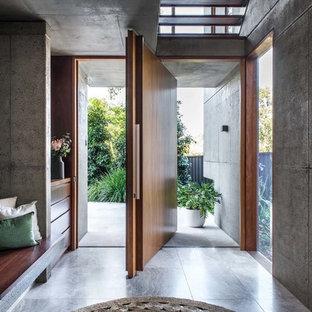 Пример оригинального дизайна: прихожая в стиле модернизм с поворотной входной дверью, входной дверью из дерева среднего тона и серым полом