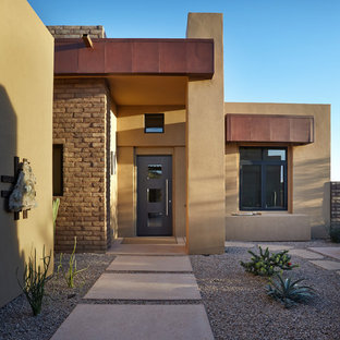 Trendy porcelain tile entryway photo in Phoenix with brown walls and a gray front door