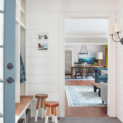 Mudroom - mid-sized cottage slate floor and gray floor mudroom idea in Boston with white walls