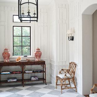 マイアミのトロピカルスタイルのおしゃれな玄関 (白い壁、マルチカラーの床) の写真