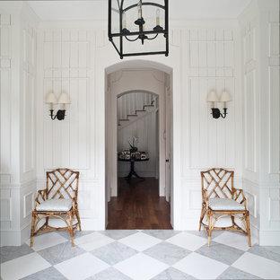 マイアミのトロピカルスタイルのおしゃれな玄関 (白い壁、大理石の床、マルチカラーの床) の写真