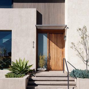 Modern inredning av en ingång och ytterdörr, med beige väggar, en enkeldörr och mellanmörk trädörr
