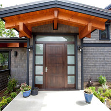 Contemporary Entry by Island Timber Frame