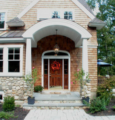 traditional entry by SAVOIE Architecture