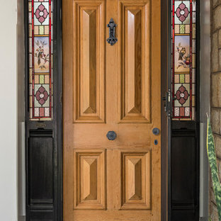 Traditional 'Cricket Bat' panel door with Tradco Door Furniture