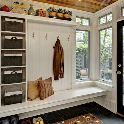 Mudroom - traditional mudroom idea in Minneapolis with white walls