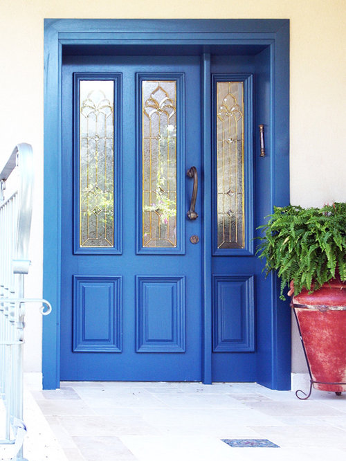 Inspiration for a timeless entryway remodel in Austin with a blue front door & Unique Entry Doors | Houzz pezcame.com