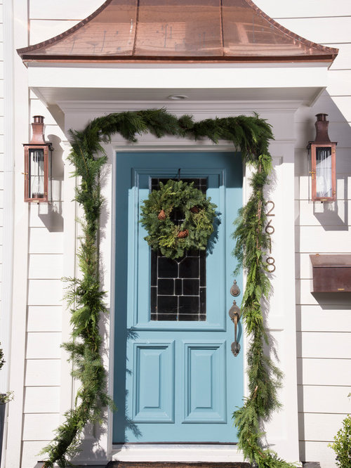 Traditional Entryway Idea In Houston With A Blue Front Door