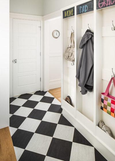 Le carrelage en damier noir et blanc un basic pour sol chic - Pose dalle pvc sur carrelage ...