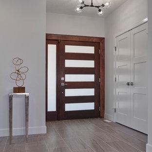 Inspiration för en mellanstor vintage foajé, med grå väggar, klinkergolv i keramik, en pivotdörr, mörk trädörr och grått golv