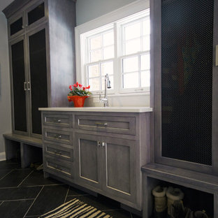 Entryway - mid-sized transitional slate floor entryway idea in Cleveland with blue walls and a white front door