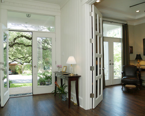 Inspiration For A Timeless Dark Wood Floor Double Front Door Remodel In  Austin With A Glass