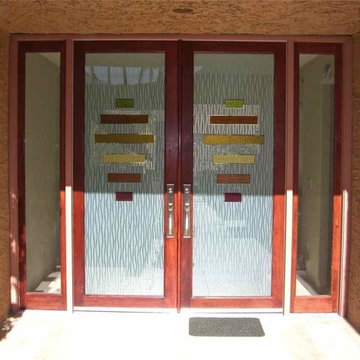 Triptic Water Trails Glass Entry Doors