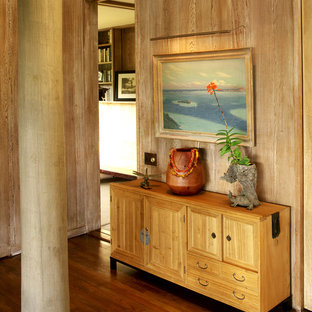 Inspiration for a tropical dark wood floor entryway remodel in Hawaii