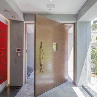Diseño de hall actual con paredes grises, suelo de piedra caliza, puerta pivotante, puerta de madera clara y suelo gris