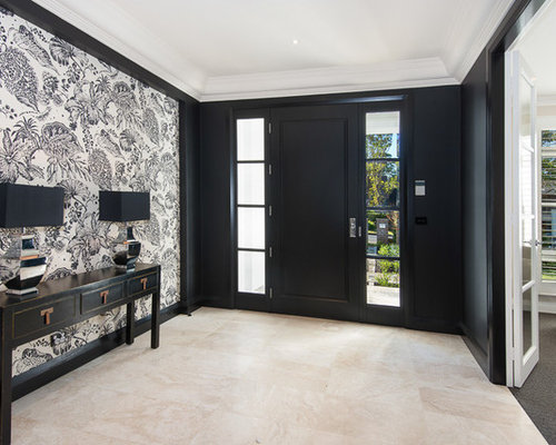 hall d 39 entr e avec un mur noir sydney photos et id es. Black Bedroom Furniture Sets. Home Design Ideas