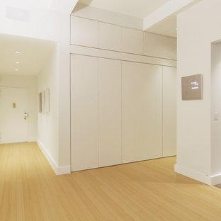 Diseño de distribuidor moderno, pequeño, con paredes blancas, suelo de bambú, puerta simple y puerta blanca