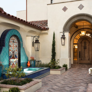 Tuscan entryway photo in Orange County with a dark wood front door and white walls