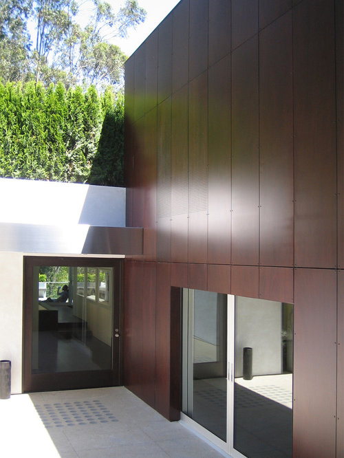 Minimalist front door photo in San Francisco with a glass front door - Exterior Wood Paneling Houzz