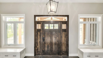 Two Panel Knotty Alder Door with Double Sidelights and Transom