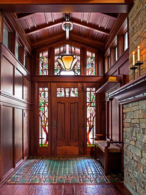Stained glass door houzz entryway craftsman dark wood floor entryway idea in other with a dark wood front door planetlyrics Choice Image