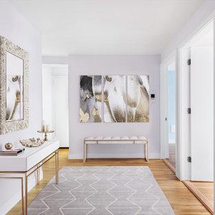 ニューヨークの中サイズのトランジショナルスタイルのおしゃれな玄関 (無垢フローリング、茶色い床、ピンクの壁) の写真