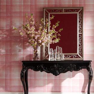 Свежая идея для дизайна: узкая прихожая среднего размера в стиле фьюжн с розовыми стенами, полом из керамической плитки и белым полом - отличное фото интерьера