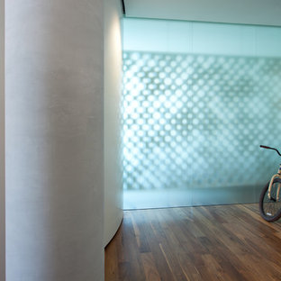 Inspiration for a modern entryway remodel in Minneapolis with white walls