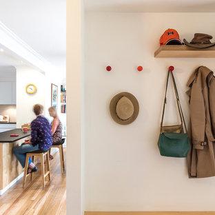キャンベラの小さい片開きドアコンテンポラリースタイルのおしゃれな玄関ラウンジ (白い壁、淡色無垢フローリング、淡色木目調のドア、黄色い床) の写真
