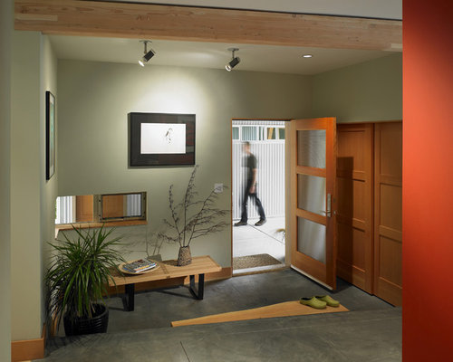 Trendy Concrete Floor And Gray Entryway Photo In Seattle