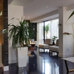 Réalisation d'une entrée minimaliste avec un sol en terrazzo et un sol marron.