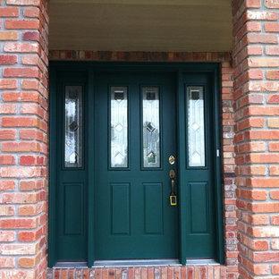 Inspiration för en mellanstor vintage ingång och ytterdörr, med en enkeldörr och en grön dörr