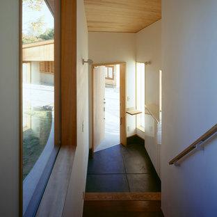 Foto de hall moderno, de tamaño medio, con paredes blancas, suelo de cemento, puerta simple, puerta de madera clara y suelo negro