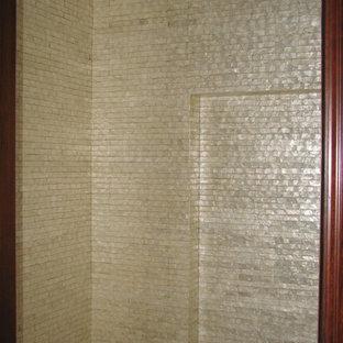 Idee per un piccolo ingresso o corridoio minimalista con pareti con effetto metallico, una porta singola e una porta bianca