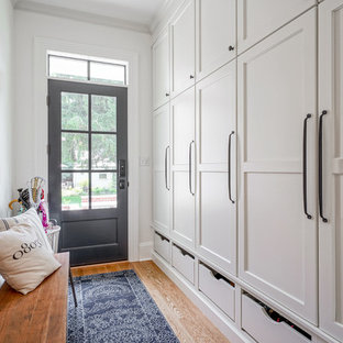 Transitional medium tone wood floor entryway photo in Other with white walls and a glass front door