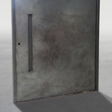 Weathered Black Stainless Steel Pivot Door