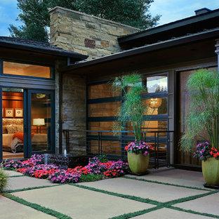Новые идеи обустройства дома: большая входная дверь в современном стиле с черными стенами, одностворчатой входной дверью и входной дверью из темного дерева