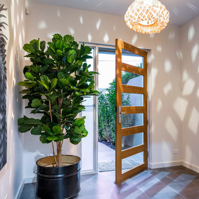 Example of a trendy gray floor entryway design in Adelaide with white walls and a medium wood front door