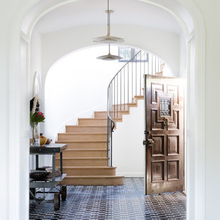 Transitional blue floor entryway photo in San Francisco with white walls and a dark wood front door