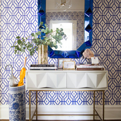 Entryway - transitional entryway idea in New York with multicolored walls