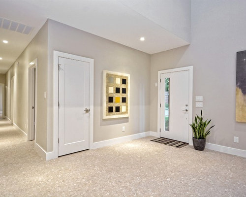 Inspiration For A Large Midcentury Modern Terrazzo Floor Entryway Remodel  In Austin With Gray Walls And