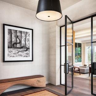 Immagine di un ingresso con vestibolo contemporaneo con pareti bianche e pavimento in legno massello medio